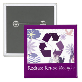 reduce reuse recycle 15 cm square badge