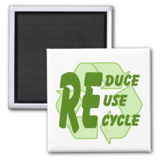 Reduce ReUse Recycle 2 Square Magnet