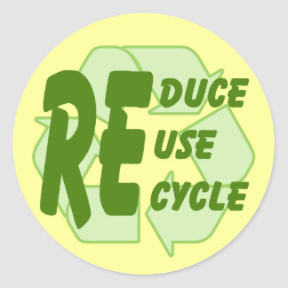 Reduce ReUse Recycle 2 Classic Round Sticker