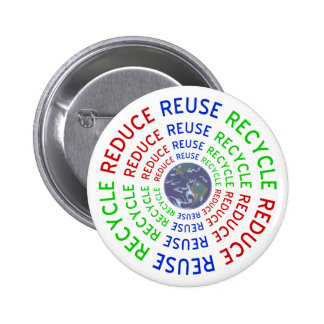 Reduce, Reuse, Recycle 6 Cm Round Badge