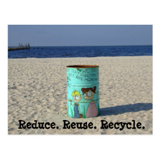 Reduce reuse recycle clean beach postcard