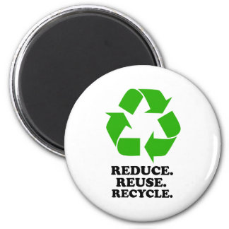 Reduce, Reuse, Recycle - Green Living 6 Cm Round Magnet