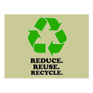 Reduce Reuse Recycle - Green Living Postcards