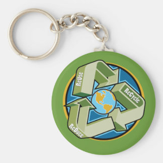 Reduce, Reuse, Recycle Keychain