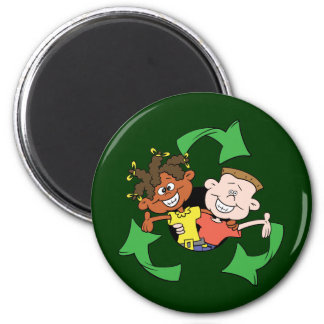 Reduce Reuse Recycle Kids 6 Cm Round Magnet