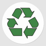 Reduce Reuse Recycle Logo Symbol Arrow 3R Round Stickers