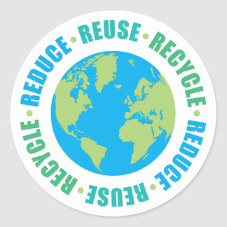 Reduce Reuse Recycle r Round Stickers