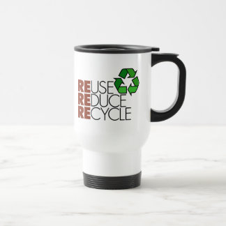 Reduce Reuse Recycle Stainless Steel Travel Mug