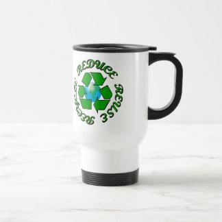Reduce Reuse Recycle Stainless Steel Travel Mug