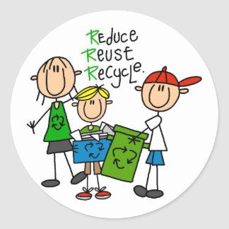 Reduce, Reuse, Recycle t-shirts and Gifts Round Sticker
