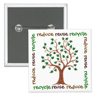 Reduce, Reuse, Recycle - Tree Customizable Pin