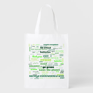 Reduce, Reuse, Recycle Word Cloud Reusable Grocery Bag