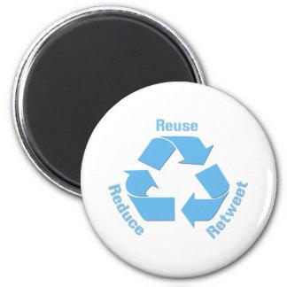 Reduce Reuse Retweet 6 Cm Round Magnet