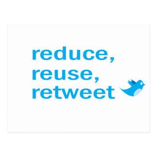 reduce, reuse, retweet postcards