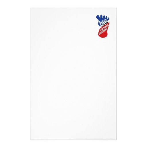 Reduce Your Government Footprint Stationery Design
