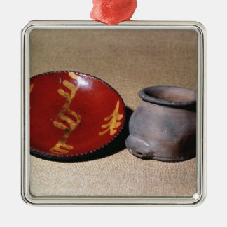Redware cup and dish, c.1780 christmas ornament