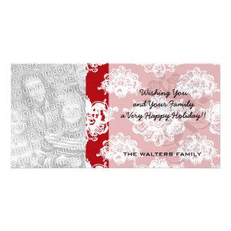 redwhite large romantic personalized photo card
