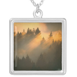 Redwood trees in coastal fog, Marin County, Square Pendant Necklace