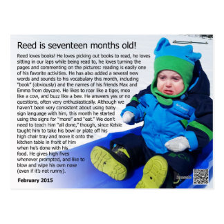 Reed - 17 months (snow record!) postcard
