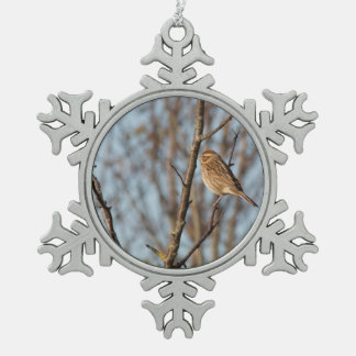 Reed Bunting Snowflake Pewter Christmas Ornament