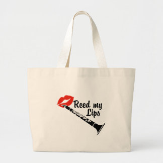 Reed My Lips Clarinet Large Tote Bag