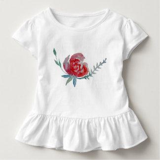 Reed Rose Watercolor Art Toddler Ruffle Tee, White Toddler T-Shirt