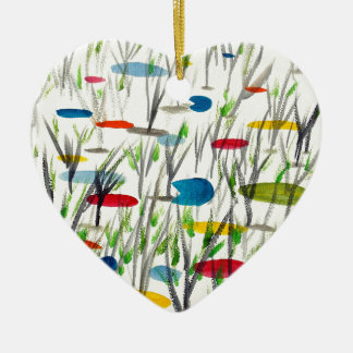 Reeds in pond ceramic heart decoration