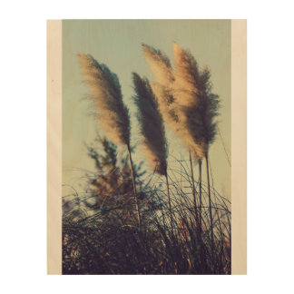 Reeds in the wind wood wall art