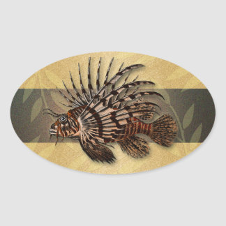 Reef coral fish fishing gifts oval sticker