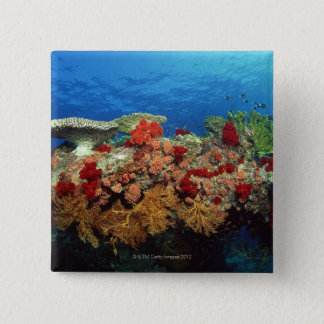 Reef scenic of hard corals , soft corals 15 cm square badge