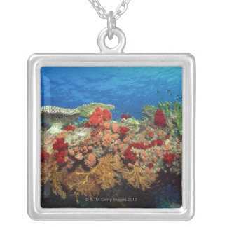Reef scenic of hard corals , soft corals silver plated necklace