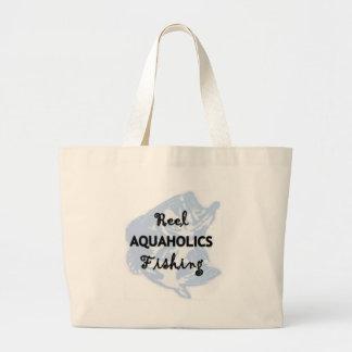 Reel Aquaholics Fishing Large Tote Bag