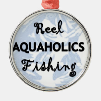 Reel Aquaholics Fishing Silver-Colored Round Decoration