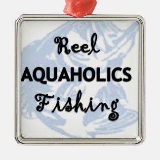 Reel Aquaholics Fishing Silver-Colored Square Decoration