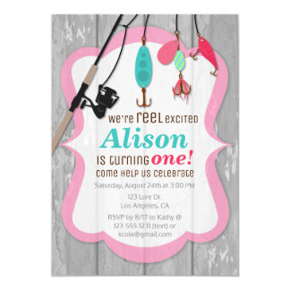 Reel Excited Pink Girl Fishing Birthday Invitation