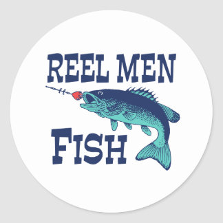Reel Men Fish Classic Round Sticker