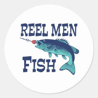 Reel Men Fish Round Sticker