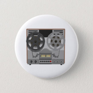 Reel to Reel Tape Player: 3D Model: 6 Cm Round Badge