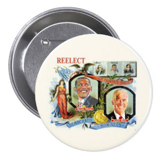 Reelect Obama Biden Democrat Nominees 7.5 Cm Round Badge