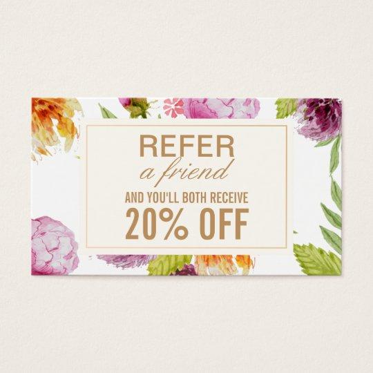 Refer a Friend Beauty Salon Floral Referral Card