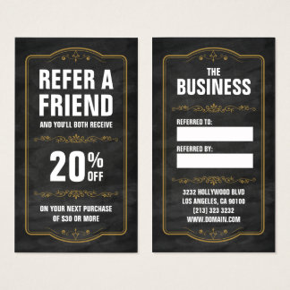 Refer a Friend Chalkboard Bold Referral Business Card