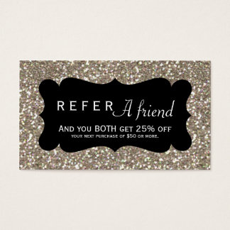 REFER A FRIEND Gold Glitter & Black Client Card