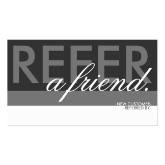 refer a friend overlay pack of standard business cards