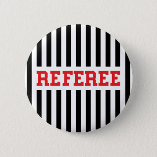 Referee black and red design 6 cm round badge