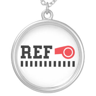 Referee - ref - design with red whistle round pendant necklace