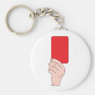 Referee Showing A Red Card Keychain