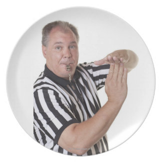 Referee with Time out signal and whistle Party Plate