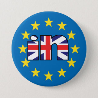 Referendum StrongerIn UK flag 'In' on EU stars 7.5 Cm Round Badge