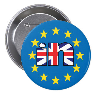 Referendum StrongerIn UK flag 'In' on EU stars 7.5 Cm Round Badge