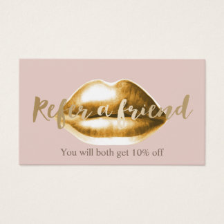 Referral Card | Gold Lips Blush Pink Girly Salon